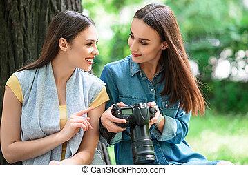 Joyful girls are ready to photograph