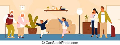 Joyful grandchildren meeting their grandparents. Happy family visiting grandfather and grandmother. Grandson and granddaughter running to hug grandma and granddad. Flat cartoon vector illustration.