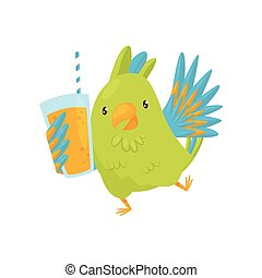 Joyful green parrot with glass of orange juice. Funny bird with bright feathers. Cartoon character. Flat vector icon