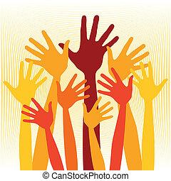 Joyful group of hands illustration.