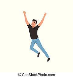 Joyful guy in jumping action with hands up. Young man with happy face expression. Flat vector design