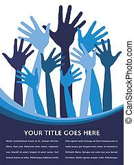 Joyful hands design. - Joyful hands design with space for...