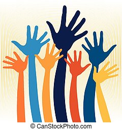 Joyful hands illustration.