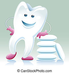 joyful healthy tooth with shewing gum - A vector...