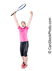 joyful jubilant with tennis racket in hand on a white background