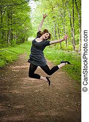 Joyful Jumping Woman