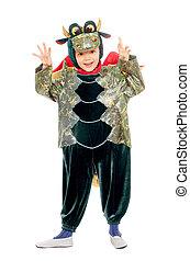Joyful kid in a dragon costume. Isolated