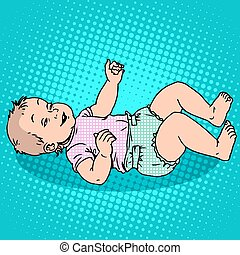 Joyful kid in the diaper. Childhood and motherhood. Pop art...