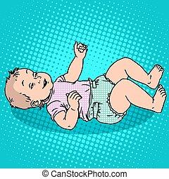 Joyful kid in the diaper. Childhood and motherhood. Pop art...