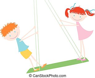 Joyful kids on the swing