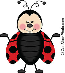 Scalable vectorial image representing a joyful ladybug, isolated on white.