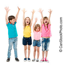 joyful laughing children with hands up