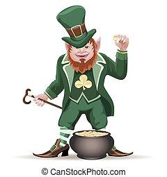 Joyful  leprechaun with a cauldron full of golden coins