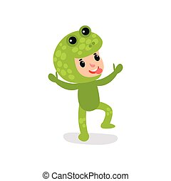 Joyful little kid having fun in green frog jumpsuit. Cartoon child cheerful face expression showing shows tongue. Boy or girl wearing animal costume. Flat vector design