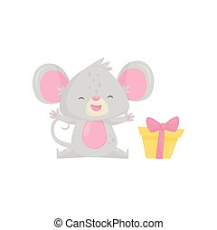 Joyful little mouse sitting with paws raised, small gift box with bow. Cute cartoon character. Flat vector icon