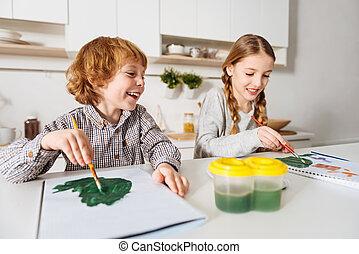 Joyful lively kids laughing together