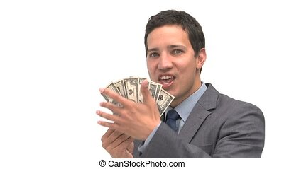 Joyful man holding dollars