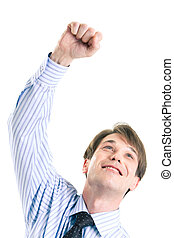 Joyful man  - Joyful businessman in shirt raising his hand