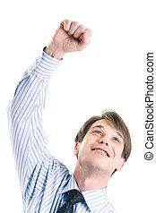 Joyful man  - Joyful businessman in shirt raising his hand