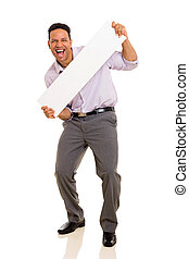 man presenting blank white board