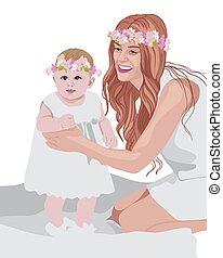 Joyful mom and her child wearing white dresses and floral crowns on head