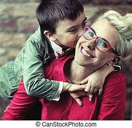 Joyful mother with her son - Joyful mother with her cute son