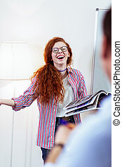 Joyful nice woman being in a perfect mood
