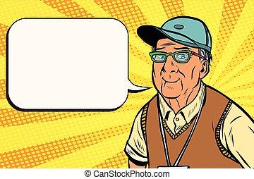 joyful old man in a baseball cap