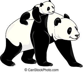 Joyful panda mom and her baby