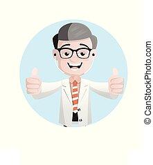 Joyful Pathologist Doctor Showing Thumbs Up Vector...