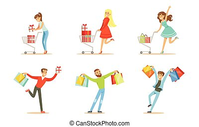 Joyful people with packages and shopping trolleys. Vector illustration
