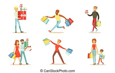 Joyful people with shopping in bags and boxes. Vector illustration
