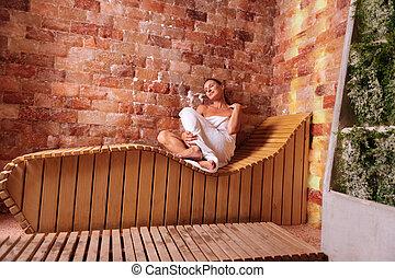 Joyful positive woman enjoying her relaxation