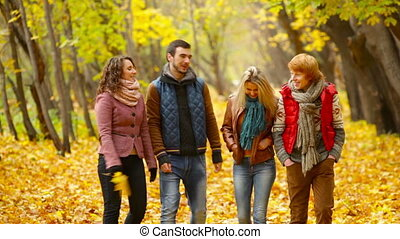 Joyful Promenade - Four friends enjoying their autumn walk...
