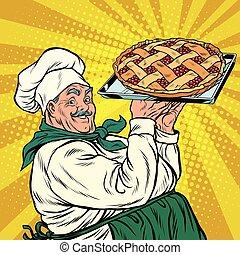 joyful retro cook berry pie