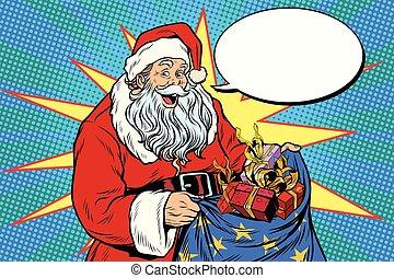 Joyful Santa Claus with bag of Christmas gifts. Pop art...