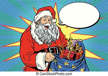 Joyful Santa Claus with bag of Christmas gifts. Pop art...