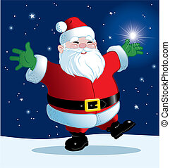 Joyful Santa - Santa dances with joy while holding a...