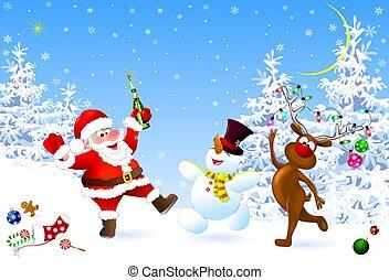 Joyful Santa, snowman and deer celebrate Christmas