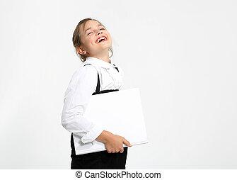 Joyful schoolgirl
