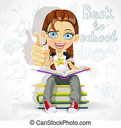 schoolgirl reading a book - Joyful schoolgirl reading a book...