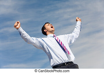 Joyful scream - Photo of happy winner screaming from joy on ...