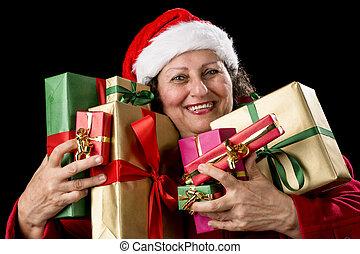 Joyful Senior Woman Hugging Eight Wrapped Gifts
