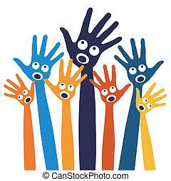 Joyful singing people hands design vector.