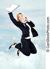 Joyful stewardess - Vertical photo of very happy woman in...