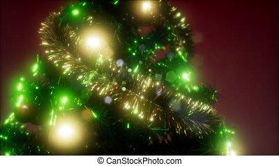 Joyful studio shot of a Christmas tree with colorful lights