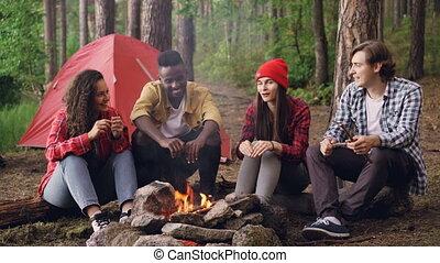 Joyful tourists men and women are sharing stories sitting...