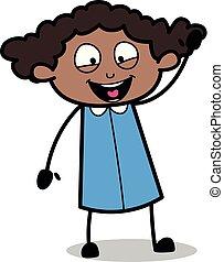 Joyful Waving Hand - Retro Black Office Girl Cartoon Vector Illustration