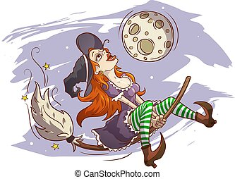 Joyful witch flying on a broomstick, hand drawn color vector...