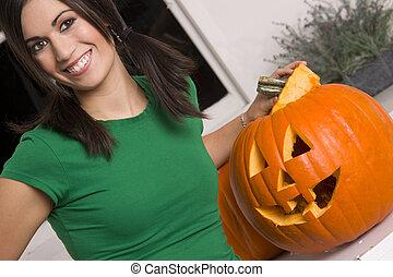 Joyful Woman at Halloween
